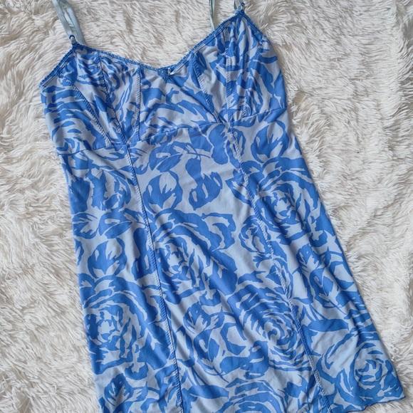 Vintage Blue Patterned Slip Dress